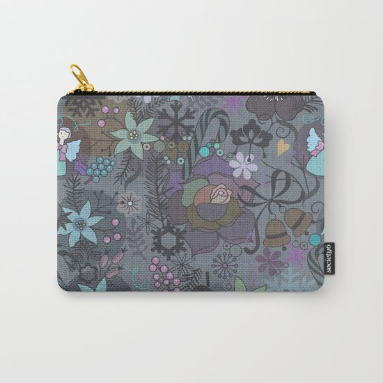 Colorful grey xmas pattern Carry-All Pouch