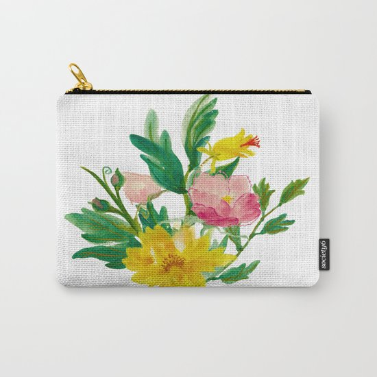 Watercolor Bouquet of Yellow and Purple Peonies Carry-All Pouch