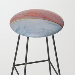 Bliss: A pretty, minimal, abstract mixed-media piece in pink white and gold by Alyssa Hamilton Art Bar Stool