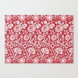 "William Morris Floral Pattern | ""Pink and Rose"" in Red and White Canvas Print"