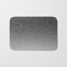 Elegant chic black silver gradient glitter Bath Mat