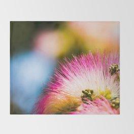 Exotic summer pink silk tree mimosa Throw Blanket