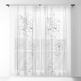 Minimal Line Art Woman with Flowers IV Sheer Curtain