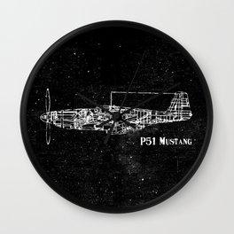 North American P51 Mustang (White) Wall Clock