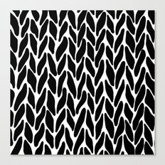 Hand Knitted Black on White Canvas Print