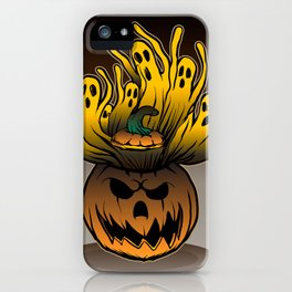 Classic character of ghost and pumpkin iPhone Case