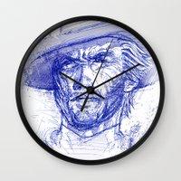 clint barton Wall Clocks featuring Clint by MOK designz
