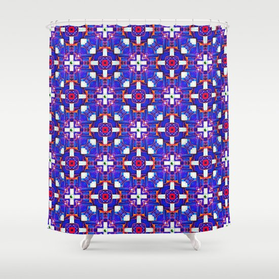 Cobalt Intersect Shower Curtain