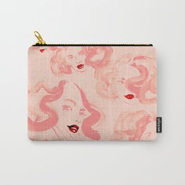 A pattern of glamorous girls with wavy hair - in colors of apricot and tea rose Carry-All Pouch