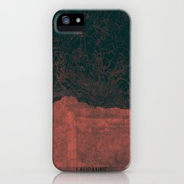 Lausanne Map Red iPhone Case