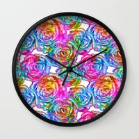 roses Wall Clocks featuring Roses by Aloke Design