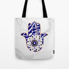 Talk to the Evil Eye Hamsa Hand Tote Bag