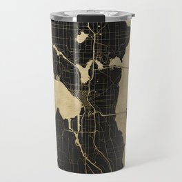 Seattle Black and Gold Map Travel Mug