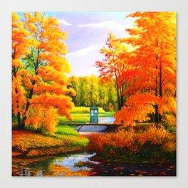 Tardis Art Bridge Forest Autumn Canvas Print
