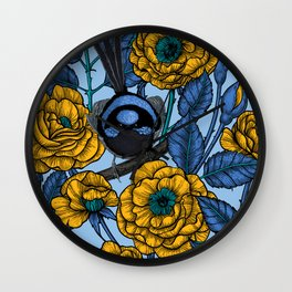 Wren in the roses  Wall Clock
