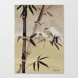 Two Birds in Bamboo Tree Canvas Print