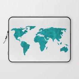 Turquoise Metallic Foil World Map Laptop Sleeve