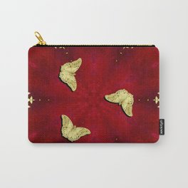 gold butterflies and flowers on red kaleidoscope Carry-All Pouch