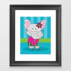 Cute, Colorful Illustration of Little Elephant Called Elsa Framed Art Print