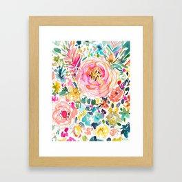 DON'T STRESS Colorful Floral Framed Art Print