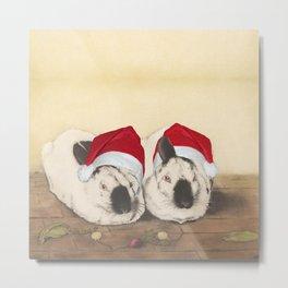 Christmas Rabbits Metal Print