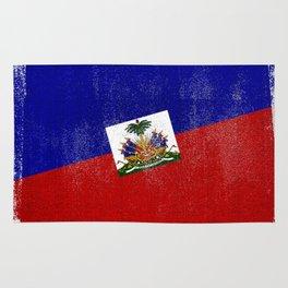 Haitian Distressed Halftone Denim Flag Rug