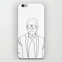 karl lagerfeld iPhone & iPod Skins featuring Karl Lagerfeld portrait by Chiara Rigoni