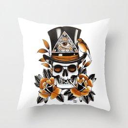 Smoking skull and roses Throw Pillow