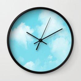 Aqua Blue Clouds Wall Clock