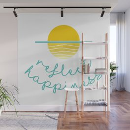 Beautiful Sunset Illustration with Quote REFLECT HAPPINESS Wall Mural