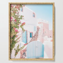 Santorini Greece Mamma Mia Pink House Travel Photography Serving Tray