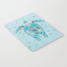 Glamour Aqua Turquoise Turtle Underwater Scenery Notebook