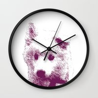 puppy Wall Clocks featuring Puppy by Deliratio