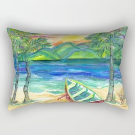 Artie the Island Dog's Red Boat Rectangular Pillow