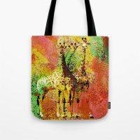 giraffe Tote Bags featuring Giraffe  by Saundra Myles