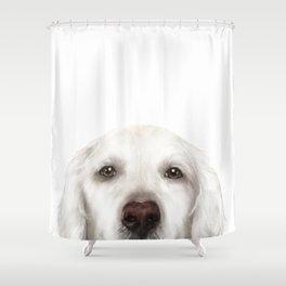 Golden Retriever WhiteDog illustration original painting print Shower Curtain