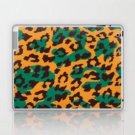 Modern orange brown jade green animal print Laptop & iPad Skin