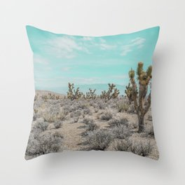 Teal Desert Sky // Cactus Landscape Photography Sierra Nevada USA Cloud Dusted Sky Throw Pillow