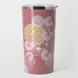 Floral Seamless Pattern on a Rusty Pink Background Travel Mug