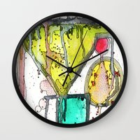 martini Wall Clocks featuring Dirty Martini by Ingrid Padilla