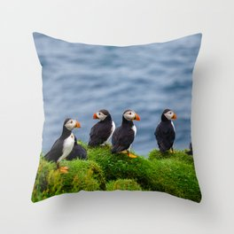 The Puffins of Mykines in the Faroe Islands X Throw Pillow