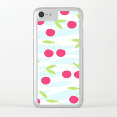 Seamless cherry pattern on striped Clear iPhone Case