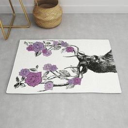 The Stag and Roses | Deer and Flowers | Purple | Vintage Stag | Vintage Deer | Antlers | Woodland | Rug