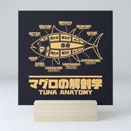 Tuna Anatomy Japanese Maguro Sushi - Black Sand Mini Art Print