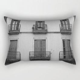 black and white building Rectangular Pillow