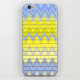 Simple Yellow Grey and Periwinkle Blue Zig Zag Modern iPhone Skin