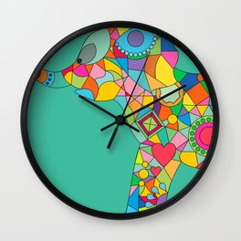 Geometric Colorful Elefant Wall Clock
