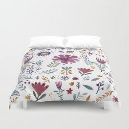 Watercolor Flowers White Duvet Cover