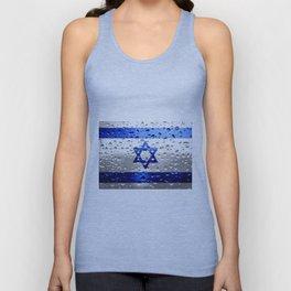Flag of Israel - Raindrops Unisex Tank Top
