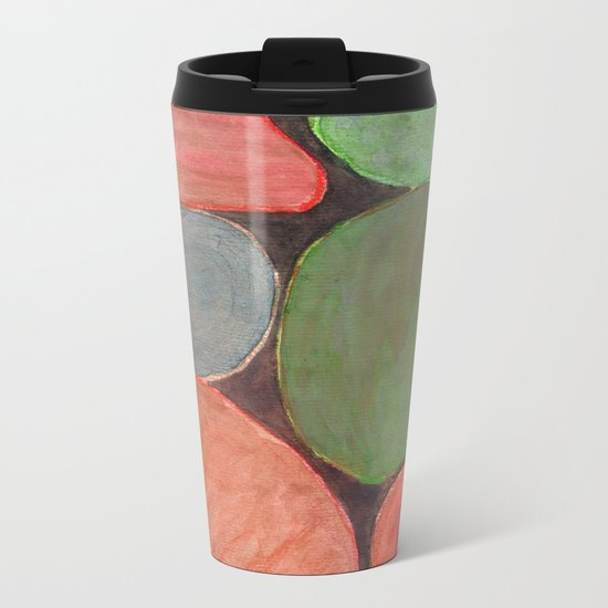 Lovely colorful Stones on dark Background Metal Travel Mug